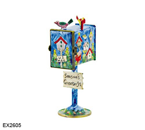 EX2605 Kelvin Chen Holiday Birdhouses Hinged Mailbox
