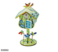 ES0002 Kelvin Chen Blue Flowers Birdhouse Stamp Box