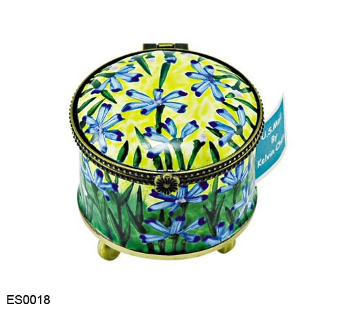 ES0018 Kelvin Chen Blue Floral Stamp Box