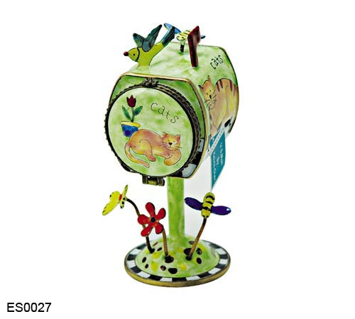 ES0027 Kelvin Chen Cats Mailbox Hinged Stamp Box