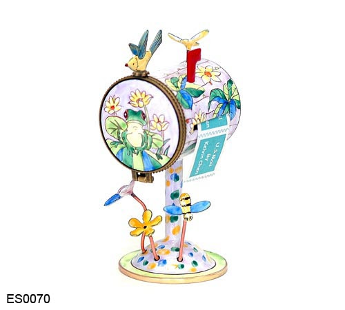 ES0070 Kelvin Chen Frog on Lily Pad Birdhouse Hinged Stamp Holder