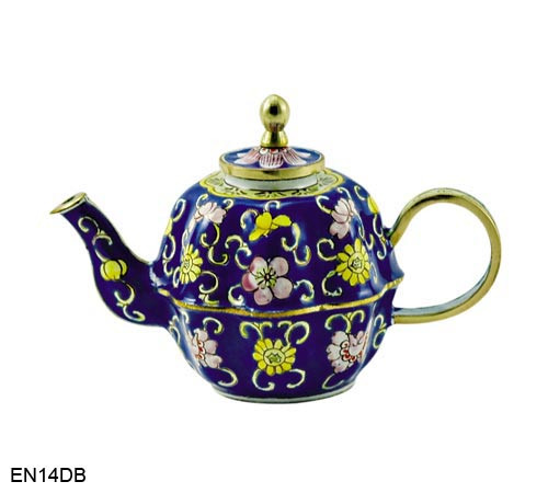 EN14DB Kelvin Chen Blue Swirls and Floral Enamel Teapot