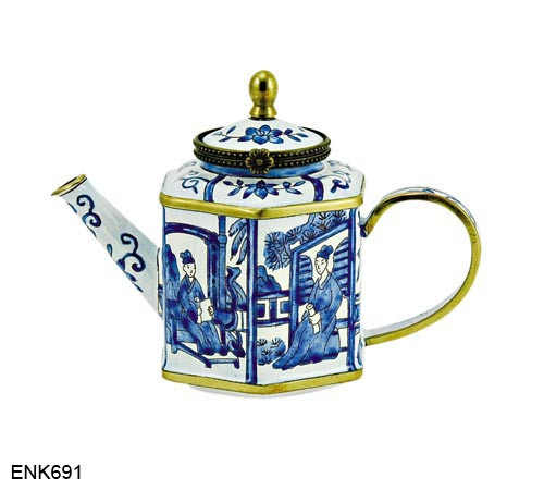 ENK691 Kelvin Chen Blue Deco Enamel Hinged Teapot