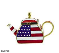 ENK756 Kelvin Chen USA Flag Enamel Hinged Teapot