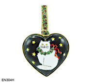 EN304H Kelvin Chen White Cat Heart Enamel Ornament