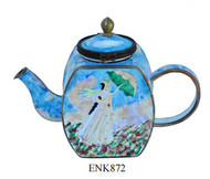 ENK872 Kelvin Chen Claude Monet Woman with a Parasol Enamel Hinged Teapot