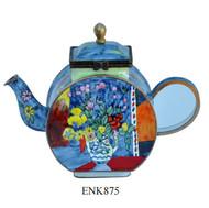 ENK875 Kelvin Chen Henri Matisse Vase with Flowers Enamel Hinged Teapot