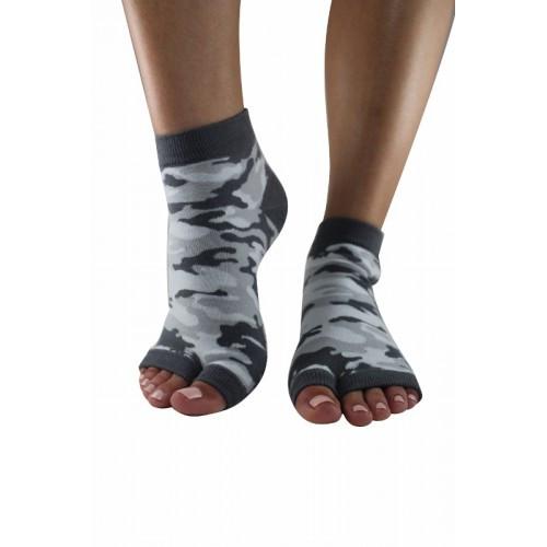 Urban Camo Split-toe yoga and pilates socks.