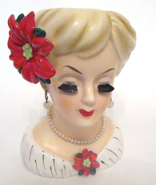 Inarco E 195b Christmas Lady Head Vase Vintage Lady Head Vases