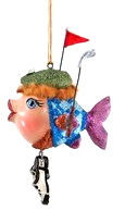 Katherine's Collection Golfer Kissing Fish with Red Flag