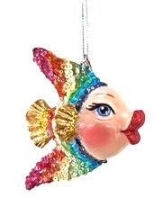 Katherine's Collection Rainbow Kissing Fish in Gold Tail
