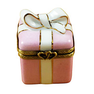 Pink Gift Wrapped Box W/Gold Ribbon Rochard Limoges Box