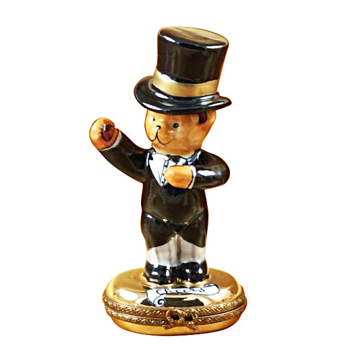 Teddy Top Hat Cheers Rochard Limoges Box