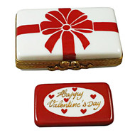 Gift Box With Red Bow - Happy Valentine'S Day Rochard Limoges Box