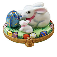 Bunny With Egg And Babies Rochard Limoges Box