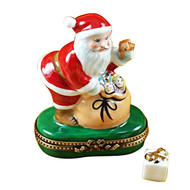 Santa With Gift Bag Rochard Limoges Box