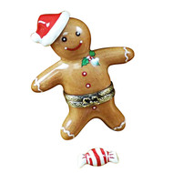 Santa Gingerbread Man W/ 3D And Peppermint Candy Rochard Limoges Box