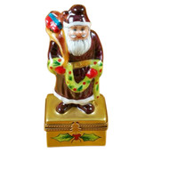 Santa W/Christmas Garland Rochard Limoges Box