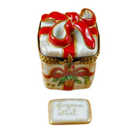 Red Ribbon Christmas Box W/Plaque Rochard Limoges Box