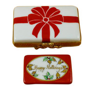 Gift Box With Red Bow - Happy Holidays Rochard Limoges Box