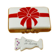 Gift Box With Red Bow - Baby'S 1St Christmas - Pink Rochard Limoges Box