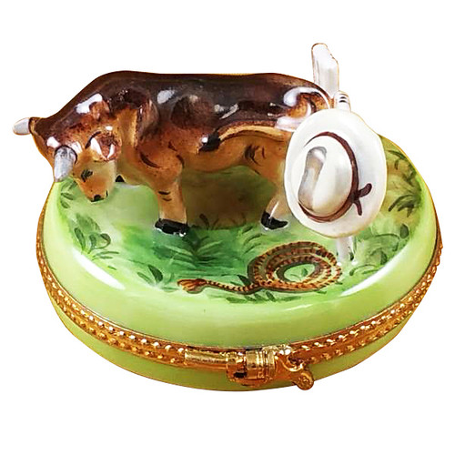 Bull With Hat On Fence Rochard Limoges Box