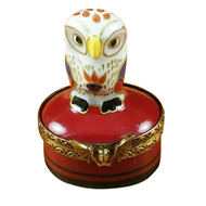 Little Indian Owl On Small Red Box Rochard Limoges Box
