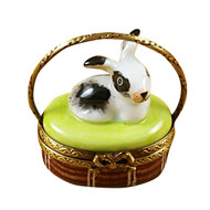 Basket W/Mini Rabbit Rochard Limoges Box