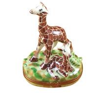 Giraffe W/Baby Rochard Limoges Box