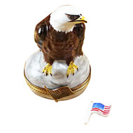 Bald Eagle With American Flag Rochard Limoges Box