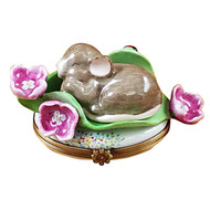 Sleeping Mouse Among Flowers Rochard Limoges Box