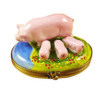 Pig With Three Babies Rochard Limoges Box