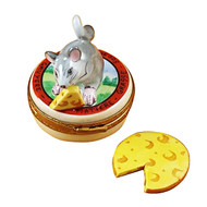 Mouse With Cheese Rochard Limoges Box