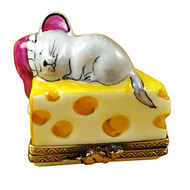 Mouse Sleeping On Cheese Rochard Limoges Box