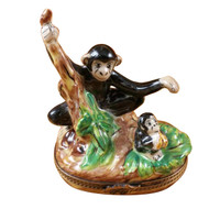 Black Monkey With Chimp Rochard Limoges Box