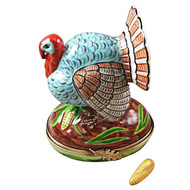 Large Turkey With Removable Ear Of Corn Rochard Limoges Box