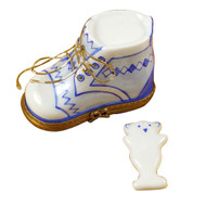 Baby Shoe W/Plaque Blue Limoges Box