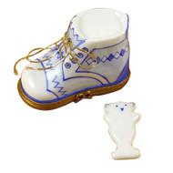 Baby Shoe W/Plaque Blue Limoges Box