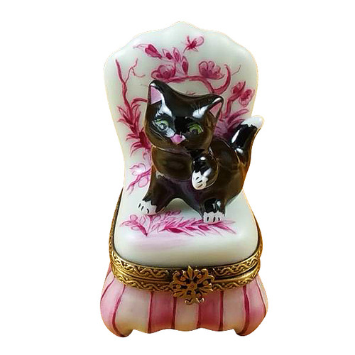 Black Cat On Toile Chair Rochard Limoges Box