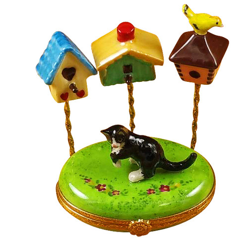 Cat W/Three Birdhouses Rochard Limoges Box