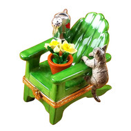 Adirondack Chair W/Cat- Watering Can And Plant Rochard Limoges Box