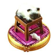 Stool W/Cat & Mouse Rochard Limoges Box