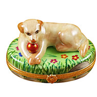 Beige Lab W/Ball Rochard Limoges Box