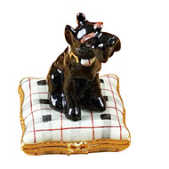 Schnauzer On Plaid Pillow Rochard Limoges Box