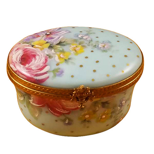 Studio Collection - Oval Turquoise Flower-Mother & Child Rochard Limoges Box