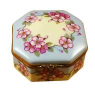 Studio Collection - Octagonal Box Pink Flowers - Sisters W/Rabbit Rochard Limoges Box