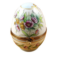 Large Egg Flowers & Dragonfly Rochard Limoges Box