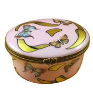 Studio Collection - Oval Pink/Blue Butterfly - Young Girl Portrait Rochard Limoges Box