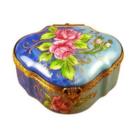Roses On Royal Blue Chest Rochard Limoges Box