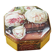 Octagonal White Rose Box - Mother-Girl Rochard Limoges Box